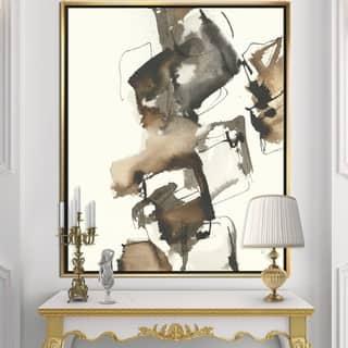 Designart 'Gold Glam Squares II' Modern & Contemporary Framed Canvas - Black/Brown