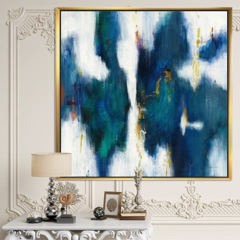 Designart 'Blue Glam Texture I' Contemporary Framed Canvas - Blue