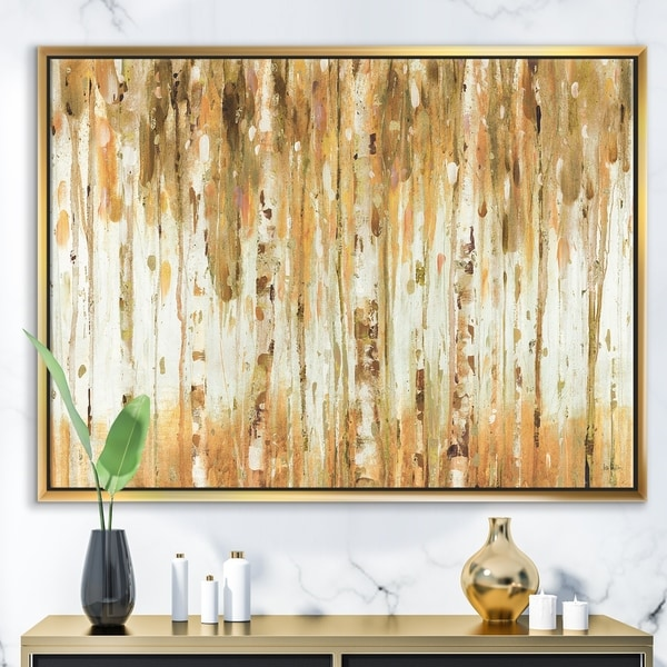 Designart 'The Forest I Fall Crop' Glam Framed Canvas - Brown