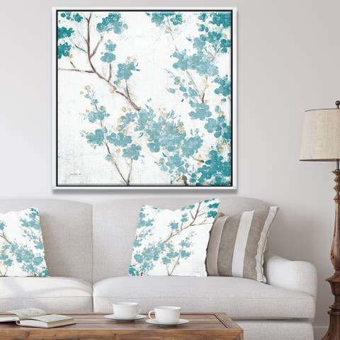 Designart 'Teal Cherry Blossoms II' Traditional Floral Framed Canvas - Blue