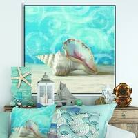 Designart 'Composition from the Sea I' Nautical & Coastal Framed Canvas - Blue