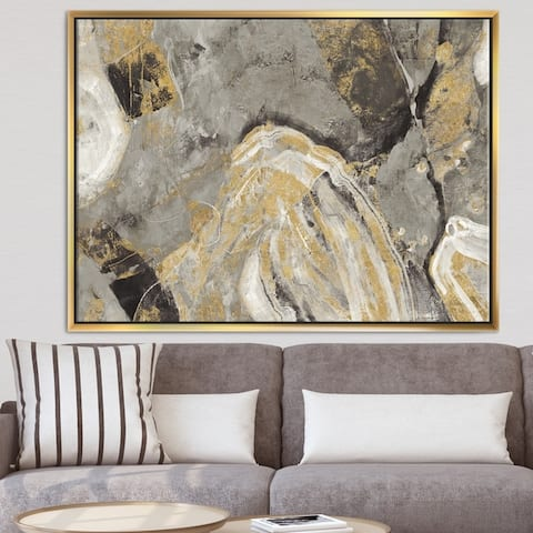 Designart 'Painted Gold Stone' Cabin & Lodge Framed Canvas - Grey