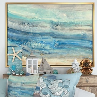 Designart 'Ocean Mineral Waves' Nautical & Coastal Framed Canvas - Blue