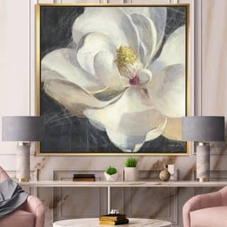Designart 'Vivid White Magnolia IV' Shabby Chic Framed Canvas - Black