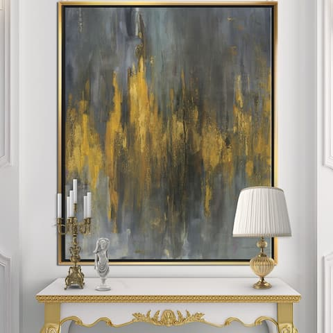 Designart 'Black and Gold Glam Abstract' Modern & Contemporary Framed Canvas - Grey