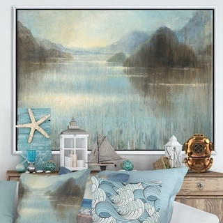 Designart 'Vue from Lase House' Lake House Framed Canvas - Blue/Brown