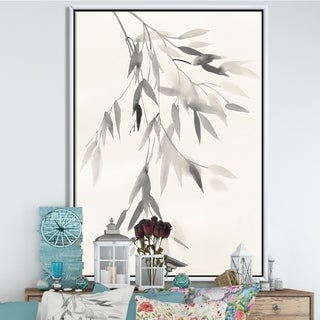 Designart 'Simplist Bamboo Leaves IV' Cabin & Lodge Framed Canvas - Black/White