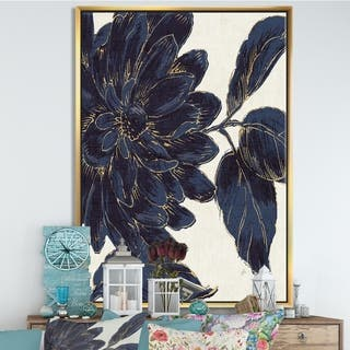 Designart 'Indigo Gold Metallic Flower' Traditional Framed Canvas - Blue
