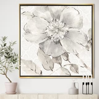 Silver Orchid 'Indigold Grey Peonies II' Farmhouse Framed Canvas - White