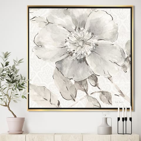 Silver Orchid 'Indigold Grey Peonies II' Farmhouse Framed Canvas