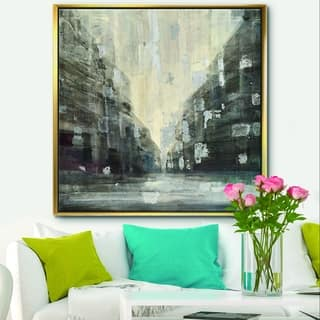 Designart 'Black and White Cityscape' Traditional Framed Canvas - Black
