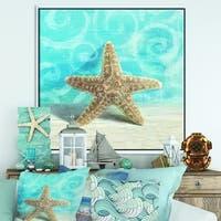 Designart 'Composition from the Sea II' Nautical & Coastal Framed Canvas - Blue