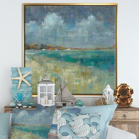 Designart 'Sky and Sea' Nautical & Coastal Framed Canvas - Blue