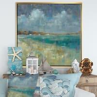 Designart 'Sky and Sea' Nautical & Coastal Framed Canvas - Blue