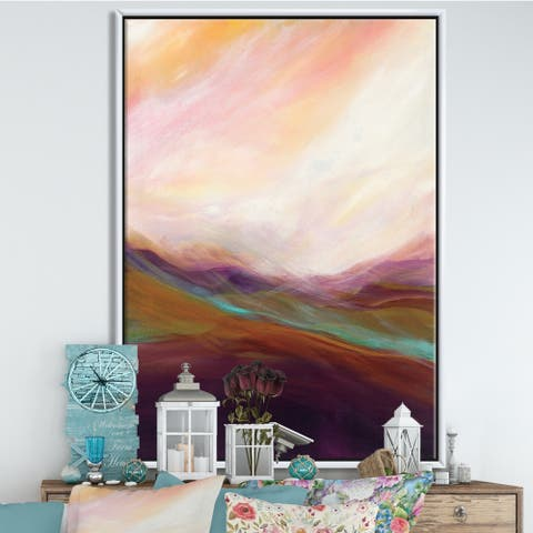 Designart 'Abstract Desert Dunes Watercolor Orange Yellow' Cottage Framed Canvas - Pink