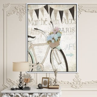 Designart 'French Bicycle Flea Market I' French Country Framed Canvas - Black/Grey