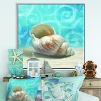 Designart 'Composition from the Sea IV' Nautical & Coastal Framed Canvas - Blue