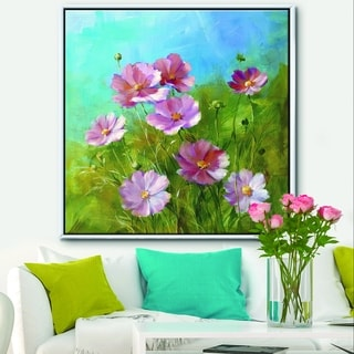 Designart 'Red Wildflowers on A Green Meadow' Traditional Framed Canvas - Blue