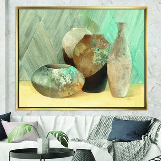 Designart 'Still Life of Vase Bottle' Traditional Framed Canvas - Grey