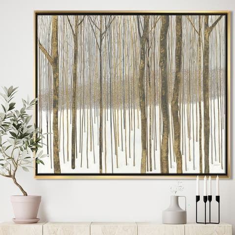 Silver Orchid 'Forest in Winter Gold' Cabin & Lodge Framed Canvas - Brown