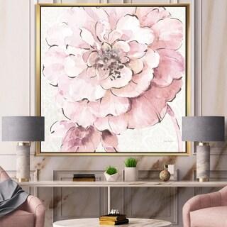 Designart 'Indigold Shabby Peonies Pink' Farmhouse Framed Canvas - Pink/White