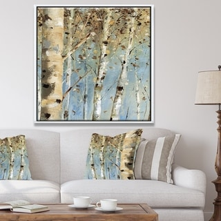 Designart 'White Birch Forest I' Modern Farmhouse Framed Canvas - Blue