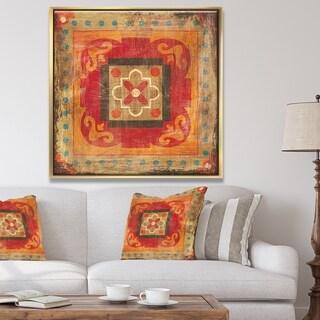 Designart 'Moroccan Orange Tiles Collage II' Bohemian Chic Framed Canvas - Red