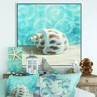 Designart 'Composition from the Sea III' Nautical & Coastal Framed Canvas - Blue
