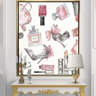 Designart 'Glam Chic Accents Pattern I' Fashion Framed Canvas - Multi-color