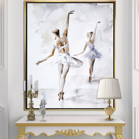 Designart 'watercolors Ballerinas Dance II' French Country Framed Canvas - Grey