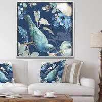 Designart 'Indigold Bird Cottage Family IV' Farmhouse Framed Canvas - Blue