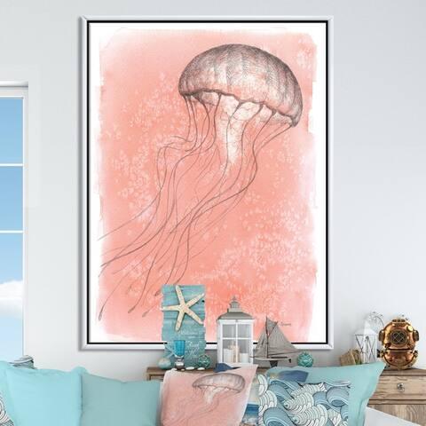 Designart 'Coastal Sea Life IV jellyfish sketches' Nautical & Coastal Framed Canvas - Pink