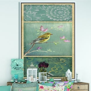 Designart 'Farmhouse Triptych of Blue Ornaments And Chickadee Goldfinch' Farmhouse Framed Canvas - Grey