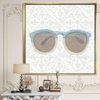 Designart 'Glam cosmetics Blue Sun Glasses' Posh & Luxe Framed Canvas - Grey