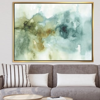 Designart 'Abstract Watercolor Green House' Modern & Contemporary Framed Canvas - Blue