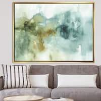 Designart 'Abstract Watercolor Green House' Modern & Contemporary Framed Canvas - Blue