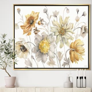 Designart 'Fields of Gold Watercolor Flower VII' Traditional Framed Canvas - Grey