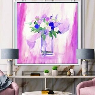Designart 'Pink Flower Still Life' Shabby Chic Framed Canvas - Pink/Purple