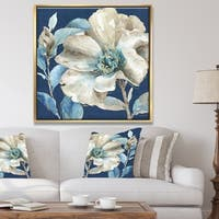 Designart 'Indigold Watercolor Flower I' Farmhouse Framed Canvas - Grey/Blue