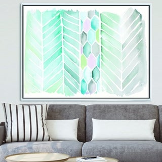 Designart 'Watercolor Geometric Swatch Element IV' Mid-Century Modern Framed Canvas - Blue/Green