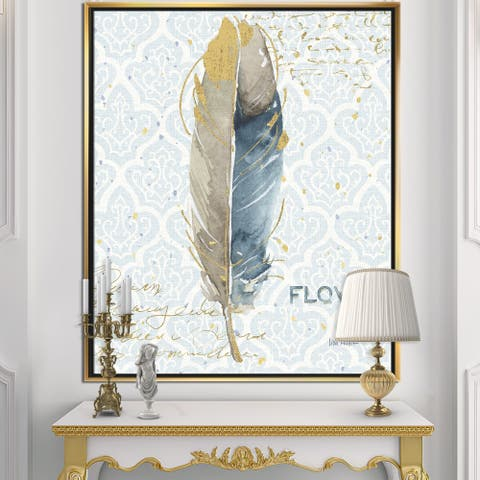 Designart 'Fields of Gold Watercolor Flower IV' Traditional Framed Canvas - Blue