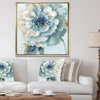 Designart 'Indigold Watercolor Flower II' Farmhouse Framed Canvas - Grey/Blue