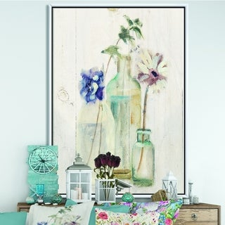 Designart 'Blossoms on Birch Cottage Bouquet III' Farmhouse Framed Canvas - Blue/Purple