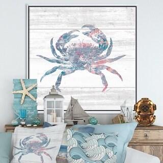 Designart 'Pink Crab Ocean Life' Nautical & Coastal Framed Canvas - Grey/Blue