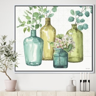 Designart 'Mixed Botanical Green Leaves VIII' Cottage Framed Canvas