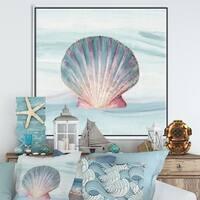 Designart 'Ocean Shell on Blue ' Nautical & Coastal Framed Canvas - Purple