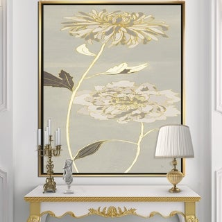 Designart 'Gold Metallic Floral Garden II' Modern Glam Framed Canvas - Grey