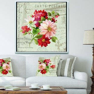 Designart 'Red Painted Flowers on Vintage Postcard II' Farmhouse Framed Canvas - Pink/Red