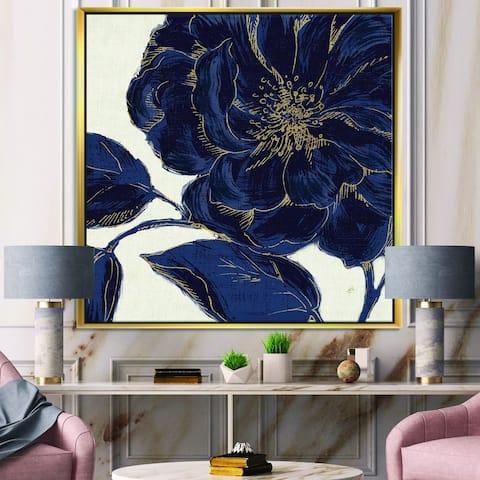 Designart 'Dark Rose Gilded Gold' Floral Framed Canvas - Blue