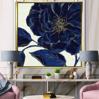 Designart 'Dark Rose Gilded Gold' Floral Framed Canvas - Blue